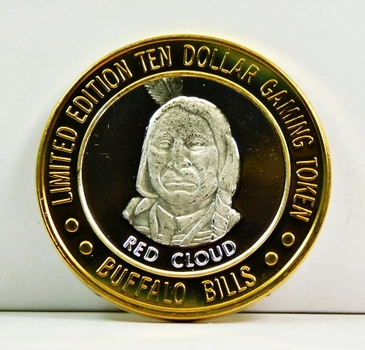 Silver Strike - .999 Fine Silver - Buffalo Bills Resort & Casino - Featuring Red Cloud - Limited Edition $10 Gaming Token - Primm, Nevada