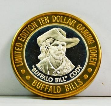 Silver Strike - .999 Fine Silver - Buffalo Bills Resort & Casino - Featuring Buffalo Bill Cody - Limited Edition $10 Gaming Token - Jean, Nevada