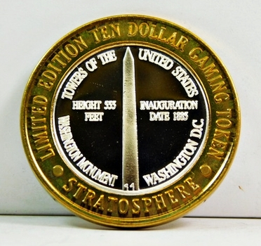 Silver Strike - .999 Fine Silver - Stratosphere - Towers of the United States Series - Washington Monument; Washington, D.C. - Limited Edition $10 Gaming Token - Las Vegas, Nevada