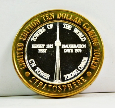 Silver Strike - .999 Fine Silver - Stratosphere - Towers of the United States Series - CN Tower; Toronto, Canada - Limited Edition $10 Gaming Token - Las Vegas, Nevada