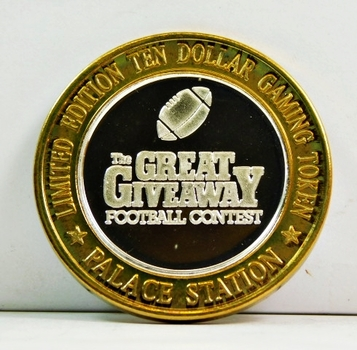 Silver Strike - .999 Fine Silver - Palace Station Hotel & Casino  - The Great Giveaway Football Contest - Limited Edition $10 Gaming Token  - Las Vegas, Nevada
