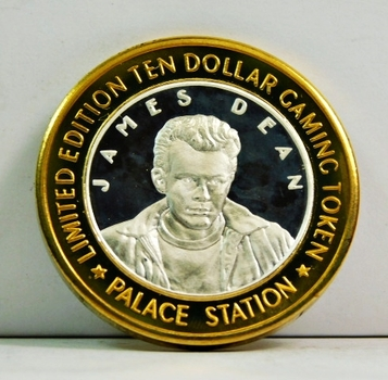 Silver Strike - .999 Fine Silver - Palace Station Hotel & Casino - James Dean - Limited Edition $10 Gaming Token  - Las Vegas, Nevada