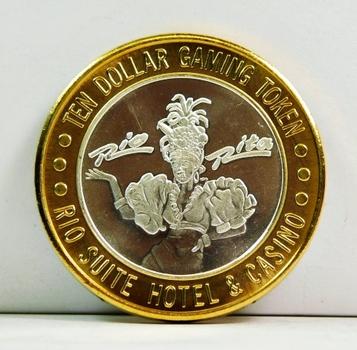 Silver Strike - .999 Fine Silver - Rio Suite Hotel & Casino  - Limited Edition $10 Gaming Token  - Las Vegas, Nevada