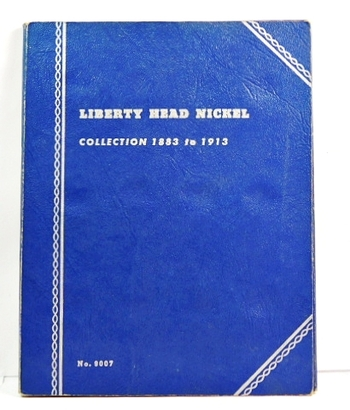 """Liberty Head Nickel Collection Album - 1883 to 1913 - Album Contains 7 Liberty Head """"V"""" Nickels"""