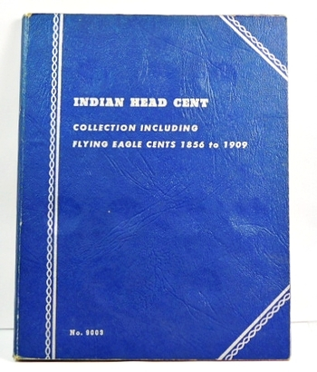Indian Head Cent Collection Album Including Flying Eagle Cents 1856 to 1909 - Album Contains 5 Indian Head Cents