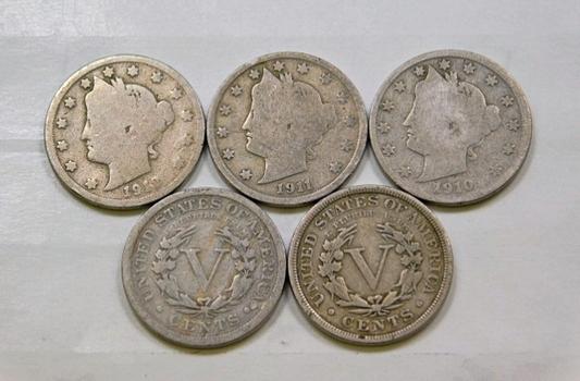 Lot Of Five Liberty V Nickels 1906 1907 1910 1911 1912