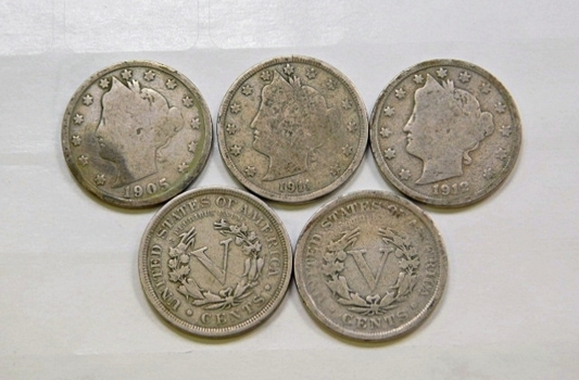 Lot Of Five Liberty V Nickels 1901 1905 1908 1911 1912