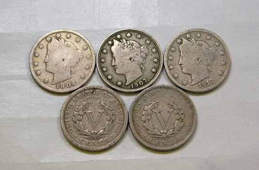 Lot Of Five Liberty V Nickels 1904 1905 1907 1911 1912