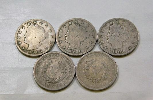 Lot Of Five Liberty V Nickels 1900 1903 1905 1907 1910