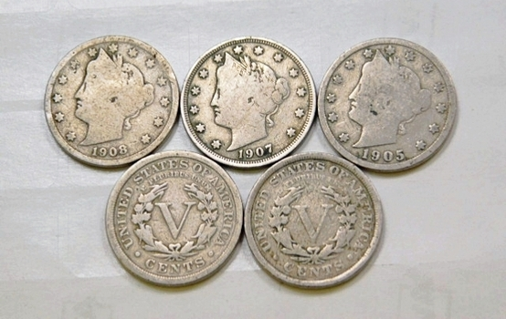 Lot Of Five Liberty V Nickels 1905 1907 1908 1911 1912