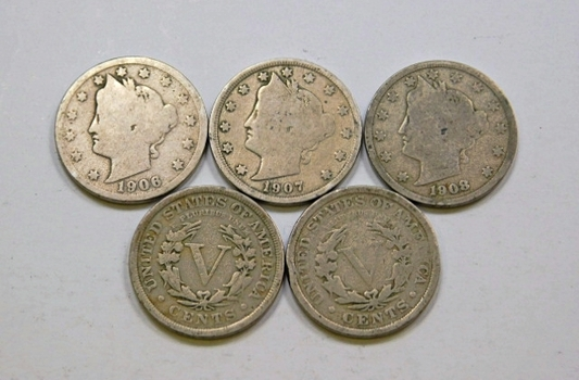 Lot Of Five Liberty V Nickels 1906 1907 1908 1910 1911