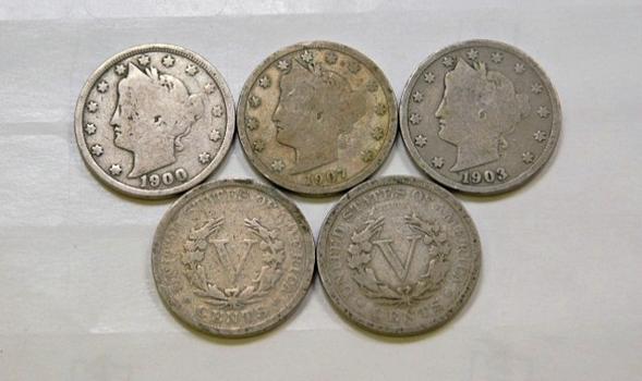 Lot Of Five Liberty V Nickels 1900 1902 1903 1904 1907