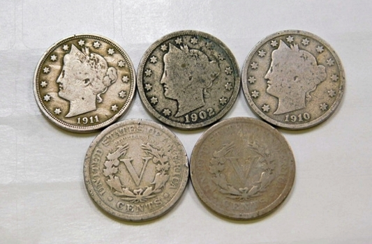 Lot Of Five Liberty V Nickels 1901 1902 1907 1910 1911