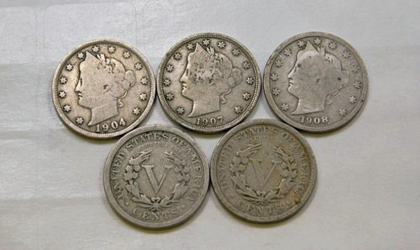Lot Of Five Liberty V Nickels 1901 1904 1907 1908 1909