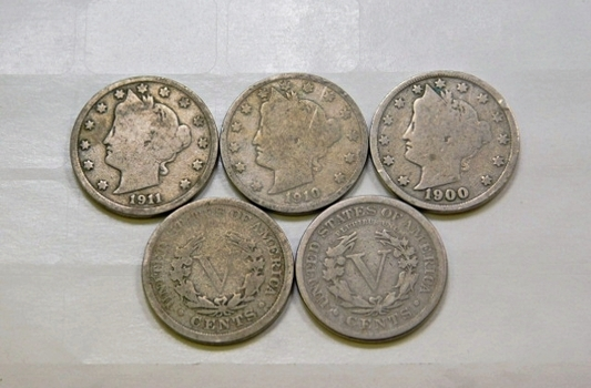 Lot Of Five Liberty V Nickels 1900 1907 1908 1910 1911