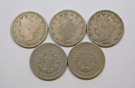 Lot Of Five Liberty V Nickels 1900 1906 1907 1910 1911