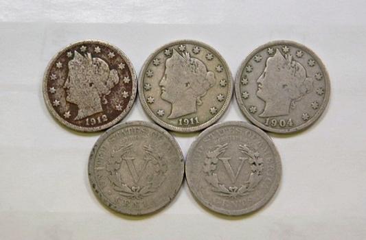 Lot Of Five Liberty V Nickels 1902 1904 1907 1911 1912