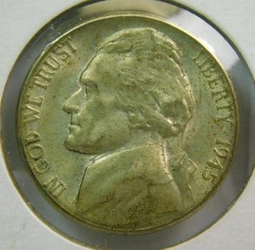 1945-S Jefferson Wartime Silver Nickel - Nice Detail!