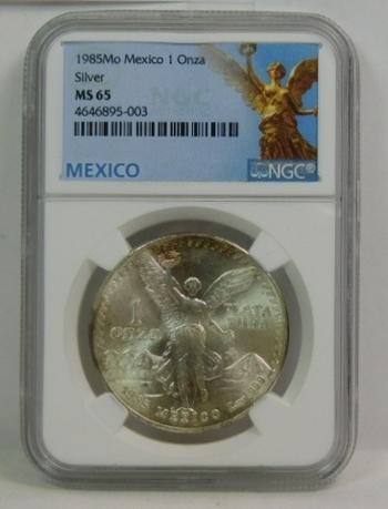 1985 Mexico Libertad 1 oz .999 Fine Silver Onza - NGC Graded MS65