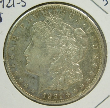 1921-S Morgan Silver Dollar - San Francisco Minted - Nice Detail and Luster