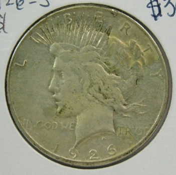 1926-S Peace Silver Dollar - San Francisco Minted - Nice Detail!
