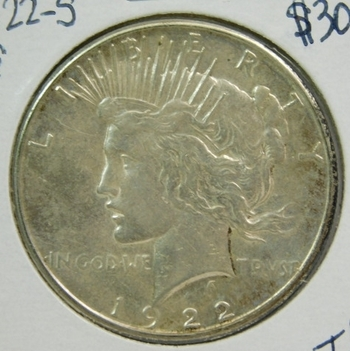 1922-S Peace SILVER Dollar - San Francisco Minted - Nice Detail and Luster