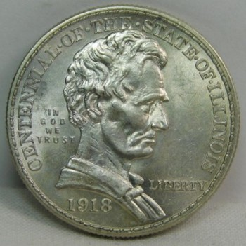 1918 Illinois Centennial Commemorative Silver Half Dollar - Excellent Detail and Luster - High Grade Coin!!