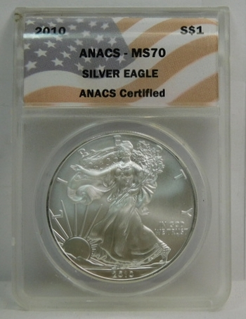 2010 American Silver Eagle - Graded MS70 by ANACS - Pure White Coin