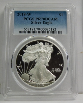 2018-W American Proof Silver Eagle - Struck at West Point - Graded PR70 DCAM by PCGS