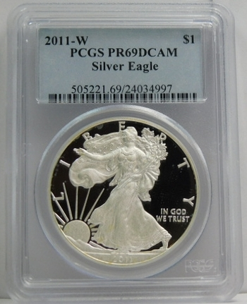 2011-W American Proof Silver Eagle - West Point Minted - Graded PR69 DCAM by PCGS