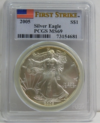 2005 American Silver Eagle - Graded MS69 by PCGS - Struck at Philadelphia
