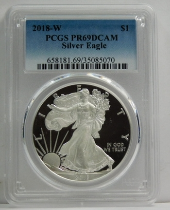 2018-W American Proof Silver Eagle - Struck at West Point - Graded PR69 DCAM by PCGS