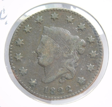 1822 Coronet Matron Head Variety Large Cent - LIBERTY Fully Visible
