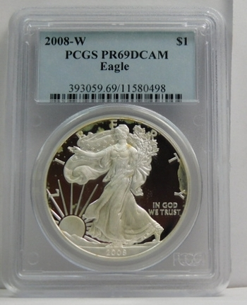 2008-W American Proof Silver Eagle - Graded PR69 DCAM by PCGS - Struck at West Point