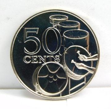 1975 Trinidad and Tobago 50 Cents - Kettle Drums - Gem Brilliant Uncirculated Specimen - Low Mintage of Only 1,111!!!