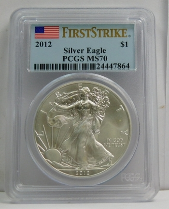 2012 American Silver Eagle - First Strike - Graded MS70 by PCGS - Pure White Coin