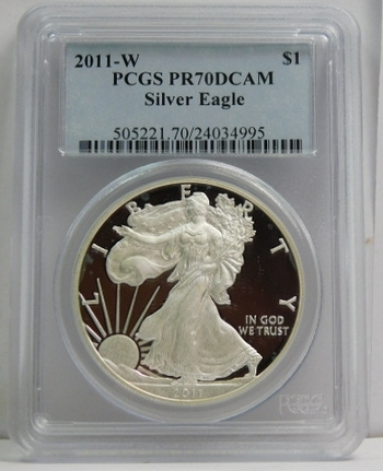 2011-W American Proof Silver Eagle - West Point Minted - Graded PR70 DCAM by PCGS