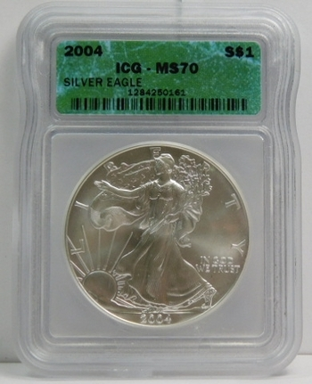 2004 American Silver Eagle - Graded MS70 by ICG  - Pure White Coin