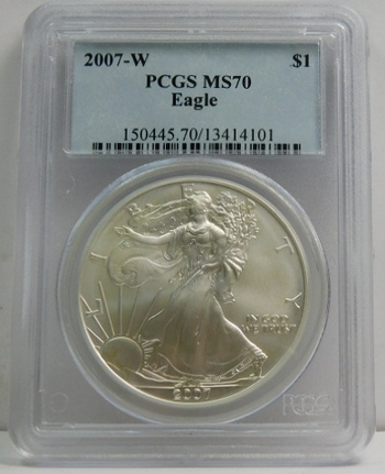2007-W American Silver Eagle - Graded MS70 by PCGS - Struck at West Point - Pure White Coin