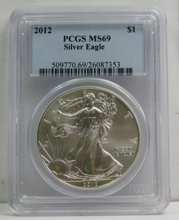 2012 American Silver Eagle - Graded MS69 by PCGS - Pure White Coin