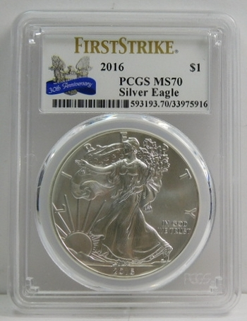 2016 American Silver Eagle - 30th Anniversary of the Eagle - First Strike - Graded MS70 by PCGS - Pure White Coin
