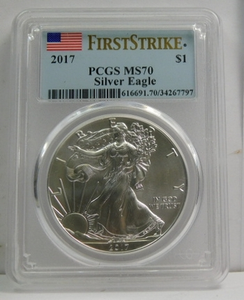 2017 American Silver Eagle - First Strike Coin - Graded MS70 by PCGS - Nice White Coin