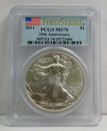 2011 American Silver Eagle - First Strike - Eagle's 25th Anniversary - Graded MS70 by PCGS - Pure White Coin