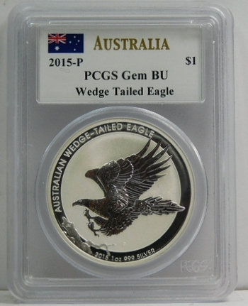 2015-P Australia $1 Wedge Tailed Eagle Coin - Graded Gem BU by PCGS - Signed by John M. Mercanti