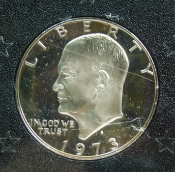 1973-S Silver Proof Ike Dollar in Original Government Packaging Gem +++