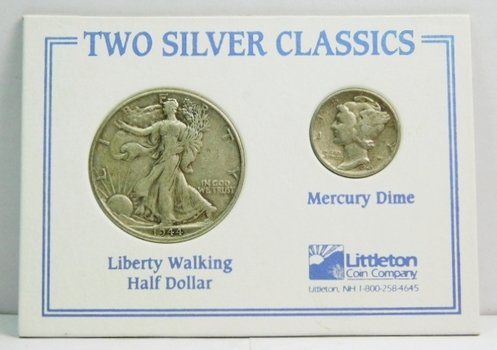 Two Silver Classics (1) Walking Liberty Half + (1) Mercury Dime