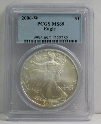 2006-W American Silver Eagle - Graded MS69 by PCGS - Struck at the West Point Mint