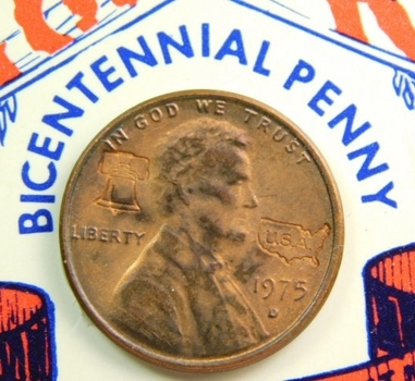 1776/1976 Bicentennial Penny (1975-D) with Fact Sheet attached