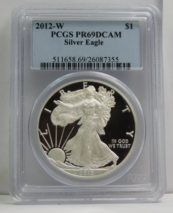 2012-W American Proof Silver Eagle - Graded PR69  DCAM by PCGS - West Point Minted