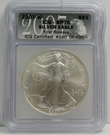 2017-W American Silver Eagle - First Release - Graded SP70 by ICG - Pure White Coin